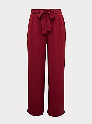Wide Leg Tie Front Crepe Pant - Red Wine, BEET RED, flat