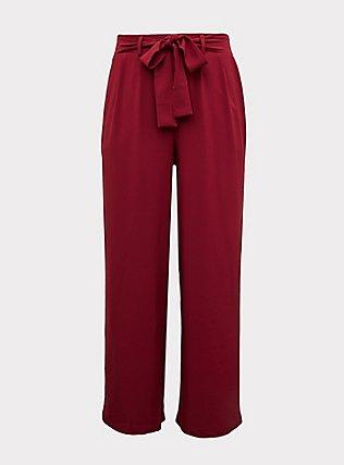 Red Wine Crepe Self Tie Wide Leg Pant, BEET RED, flat