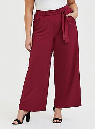 Wide Leg Tie Front Crepe Pant - Red Wine, BEET RED, hi-res