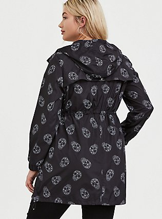 Black Starry Skull Nylon Hooded Longline Rain Jacket, GEO-MULTI, alternate