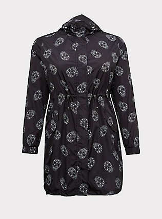 Black Starry Skull Nylon Hooded Longline Rain Jacket, GEO-MULTI, flat