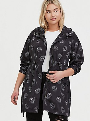 Black Starry Skull Nylon Hooded Longline Rain Jacket, GEO-MULTI, hi-res