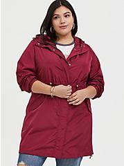 Red Wine Nylon Hooded Longline Rain Jacket, BEET RED, alternate