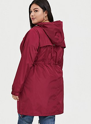 Red Wine Nylon Hooded Longline Rain Jacket, BEET RED, alternate