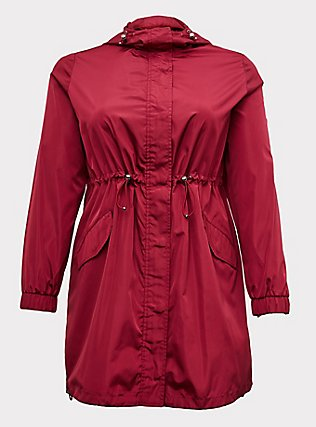 Red Wine Nylon Hooded Longline Rain Jacket, BEET RED, flat