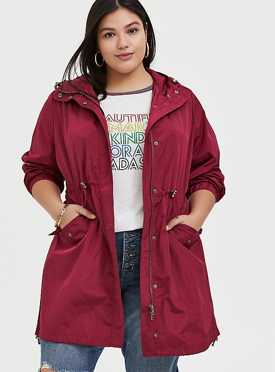 Red Wine Nylon Hooded Longline Rain Jacket, , hi-res