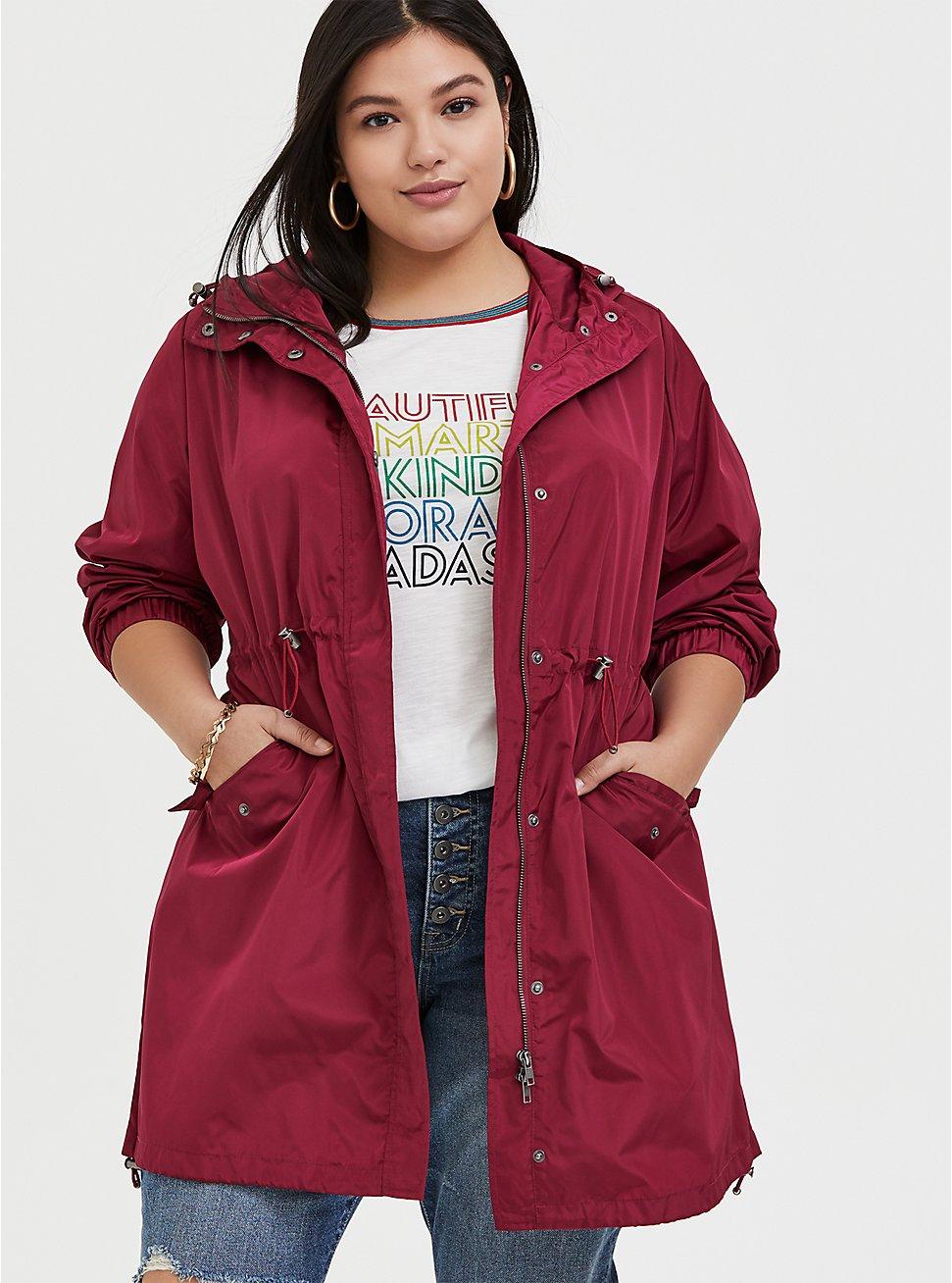 Red Wine Nylon Hooded Longline Rain Jacket, BEET RED, hi-res