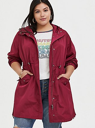 Red Wine Nylon Hooded Longline Rain Jacket, BEET RED, hi-res