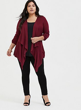 Plus Size Red Wine Drape Front Cardigan, BEET RED, alternate