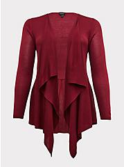 Red Wine Drape Front Cardigan, BEET RED, hi-res