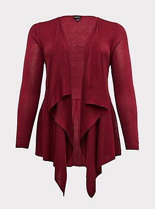 Plus Size Red Wine Drape Front Cardigan, BEET RED, flat