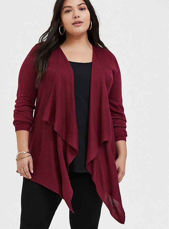 Red Wine Drape Front Cardigan, , hi-res