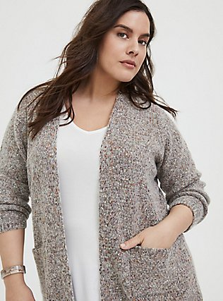 Plus Size Grey & Colorful Marled Woolen Fuzzy Knit Cardigan, GREY, alternate
