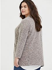 Grey & Colorful Marled Woolen Fuzzy Knit Cardigan, GREY, alternate