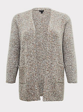 Plus Size Grey & Colorful Marled Woolen Fuzzy Knit Cardigan, GREY, flat