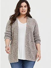 Grey & Colorful Marled Woolen Fuzzy Knit Cardigan, GREY, hi-res
