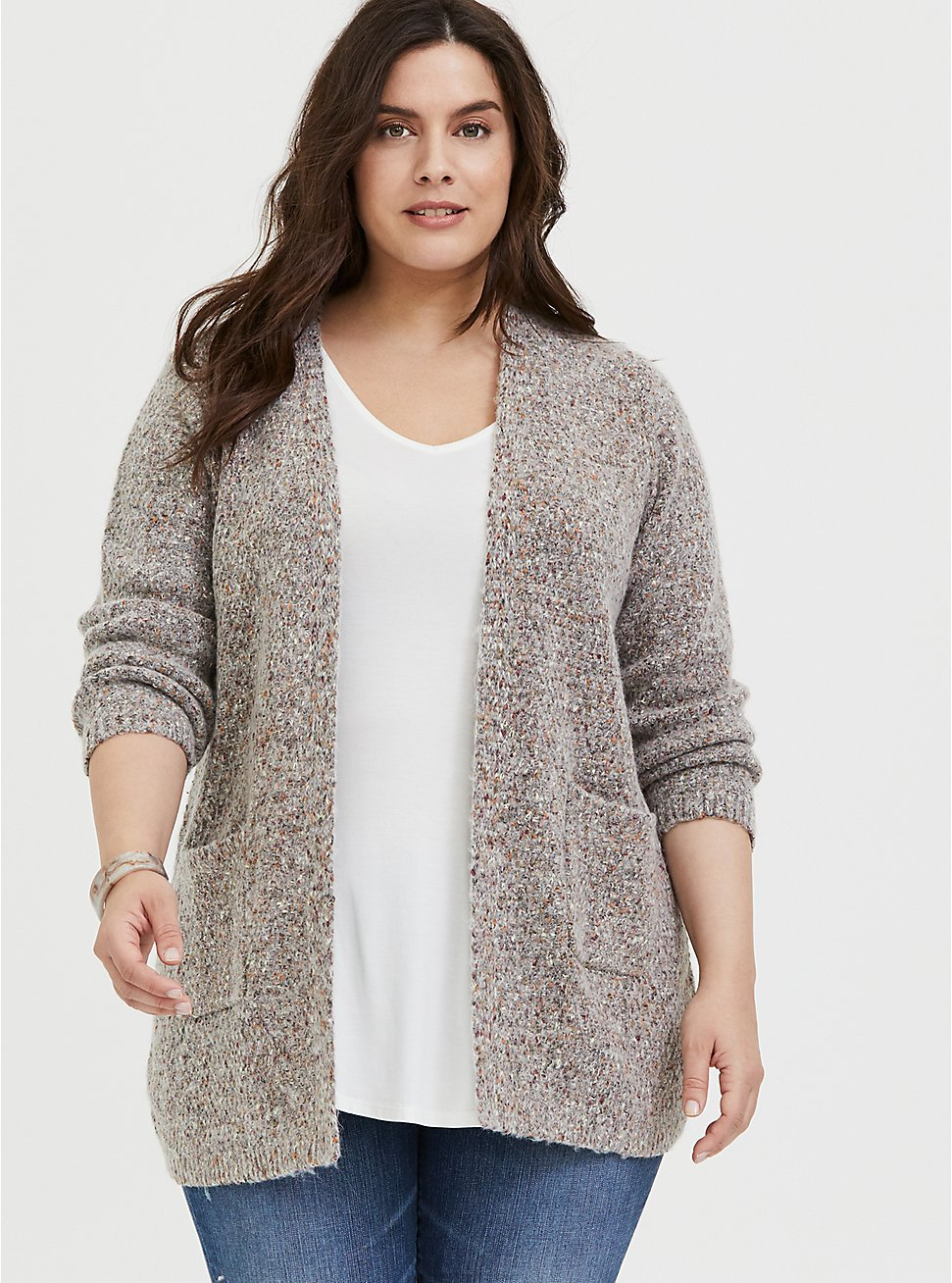 Plus Size Grey & Colorful Marled Woolen Fuzzy Knit Cardigan, , hi-res