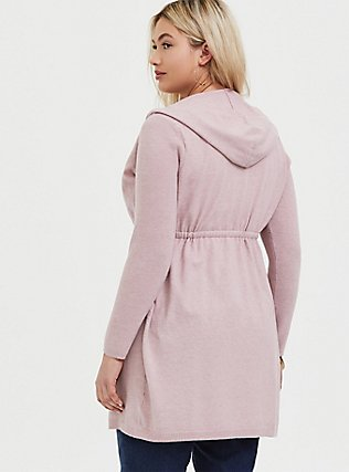 Blush Pink Brushed Hooded Anorak Cardigan, PALE MAUVE, alternate