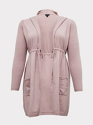 Blush Pink Brushed Hooded Anorak Cardigan, PALE MAUVE, flat