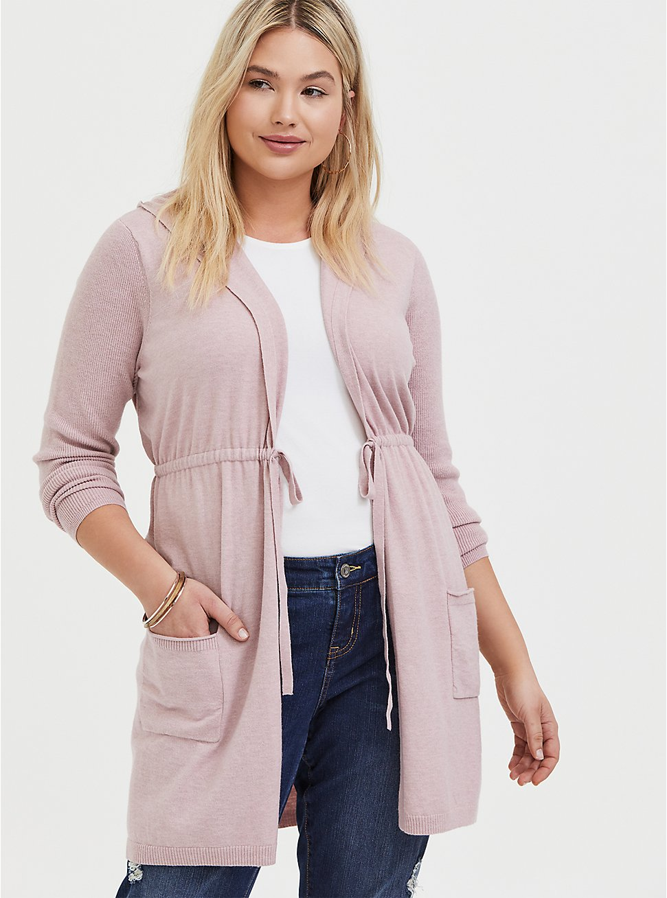 Plus Size Mauve Pink Brushed Hooded Anorak Cardigan, PALE MAUVE, hi-res