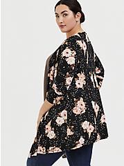 Super Soft Black Floral Fit & Flare Cardigan, FLORAL - BLACK, alternate