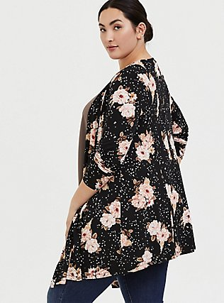 Super Soft Black Floral Fit & Flare Cardigan, FLORAL - BLACK, alternate