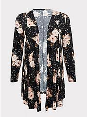 Super Soft Black Floral Fit & Flare Cardigan, FLORAL - BLACK, hi-res