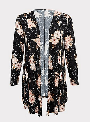 Super Soft Black Floral Fit & Flare Cardigan, FLORAL - BLACK, flat