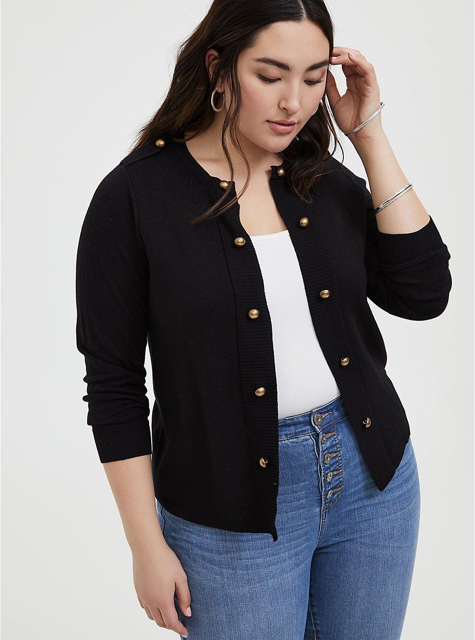Black Sweater-Knit Military Jacket, DEEP BLACK, hi-res
