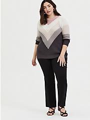 Plus Size Colorblock Chevron Stripe Pointelle Sweater, STRIPE - MULTICOLOR, alternate