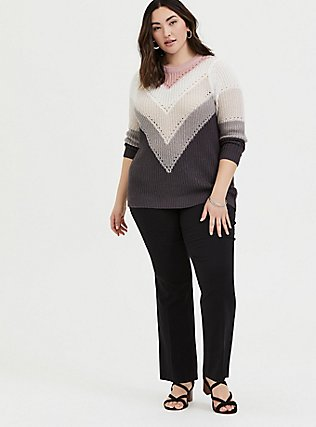 Plus Size Colorblock Chevron Stripe Pointelle Sweater, STRIPE - MULTICOLOR, alternate