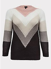 Colorblock Chevron Stripe Pointelle Sweater, STRIPE - MULTICOLOR, hi-res