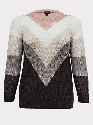 Plus Size Colorblock Chevron Stripe Pointelle Sweater, STRIPE - MULTICOLOR, flat