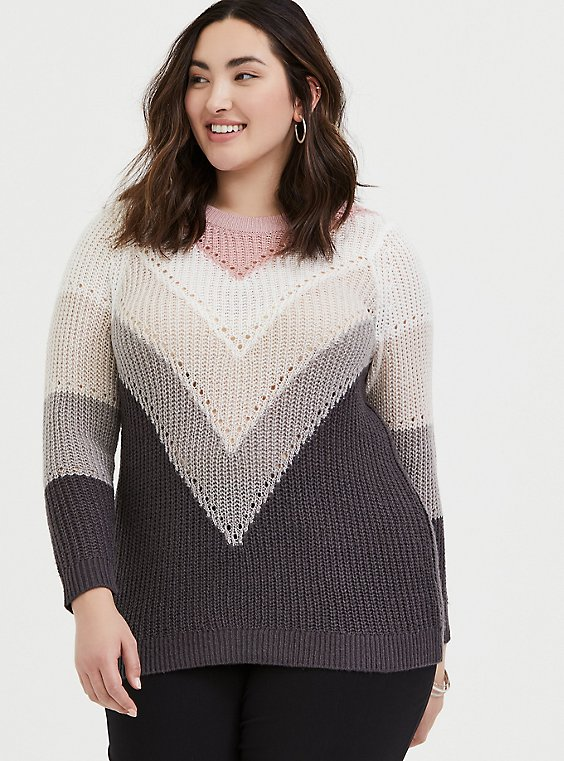 Plus Size Colorblock Chevron Stripe Pointelle Sweater, , hi-res