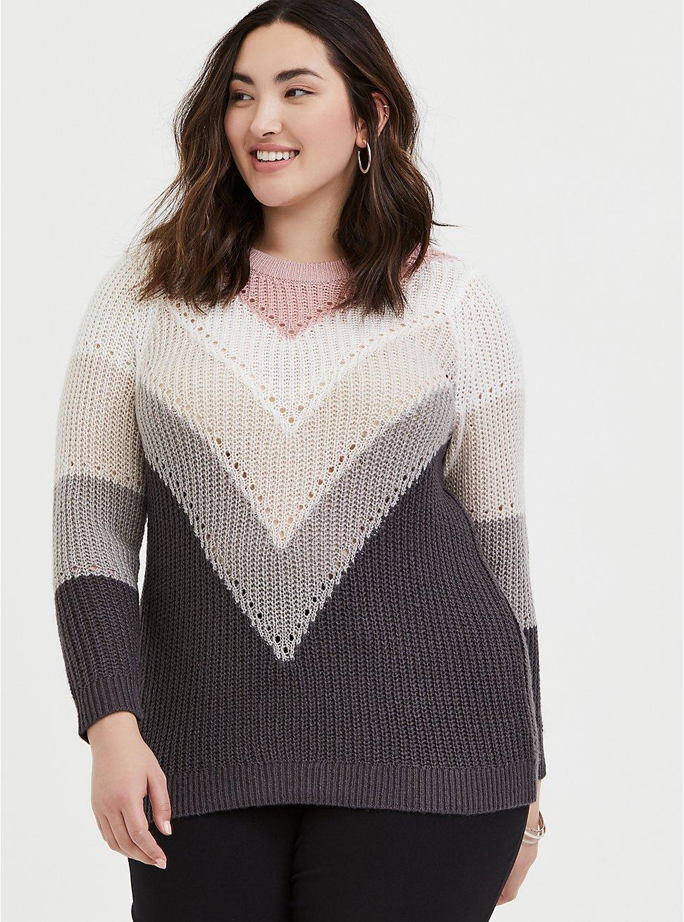 Plus Size Colorblock Chevron Stripe Pointelle Sweater, STRIPE - MULTICOLOR, hi-res