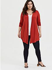 Super Soft Red Terracotta Open Front Cardigan, KETCHUP, alternate