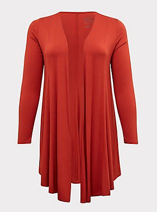 Super Soft Red Terracotta Open Front Cardigan, KETCHUP, flat