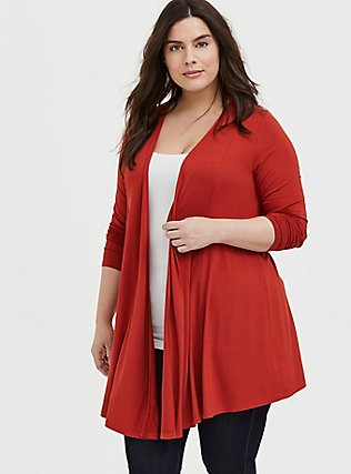 Plus Size Super Soft Red Terracotta Open Front Cardigan, KETCHUP, hi-res