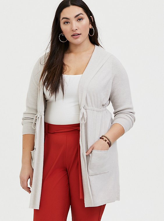Ivory Drawstring Hooded Cardigan, , hi-res