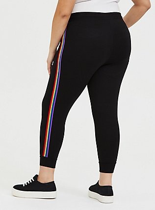 Plus Size Black & Rainbow Stripe Terry Crop Jogger, RAINBOW, alternate