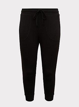 Plus Size Black & Rainbow Stripe Terry Crop Jogger, RAINBOW, flat