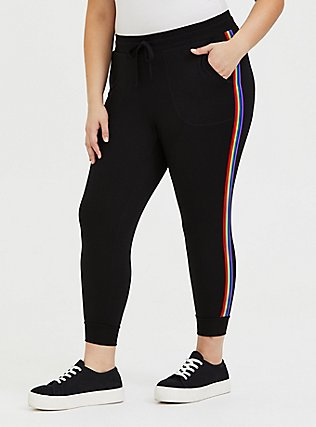 Plus Size Black & Rainbow Stripe Terry Crop Jogger, RAINBOW, hi-res