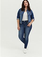 Plus Size Denim Trucker Jacket - Medium Wash, DENIM, alternate