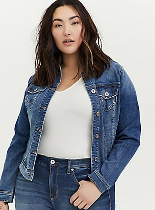 Denim Trucker Jacket - Medium Wash, DENIM, alternate