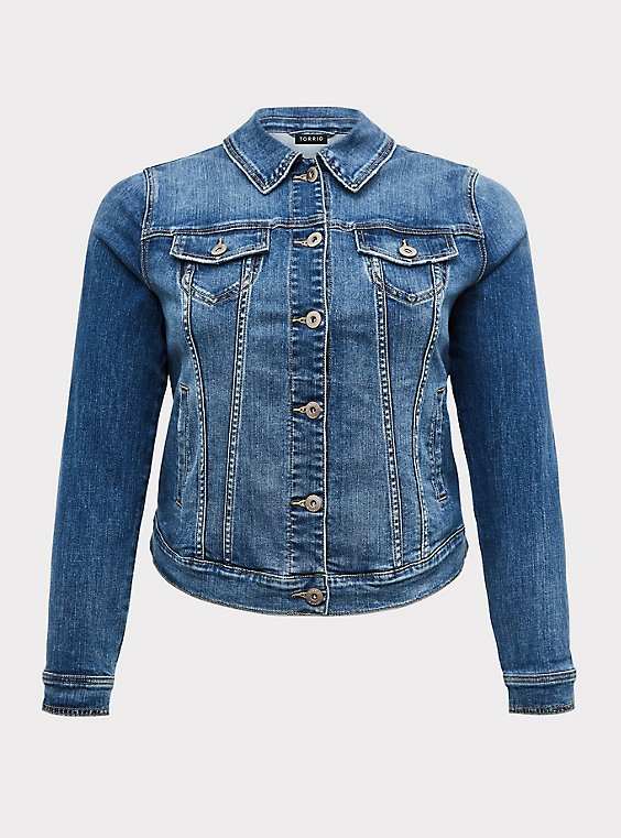 Denim Trucker Jacket - Medium Wash, , flat