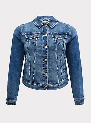 Denim Trucker Jacket - Medium Wash, DENIM, flat