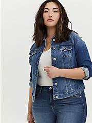Plus Size Denim Trucker Jacket - Medium Wash, DENIM, hi-res