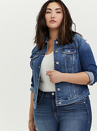 Denim Trucker Jacket - Medium Wash, DENIM, hi-res