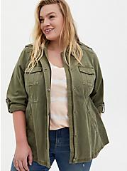Olive Green Twill Anorak, GREEN, hi-res