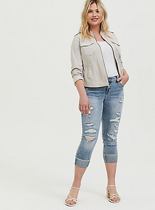 Ivory Twill Military Bomber Jacket , GREY, alternate